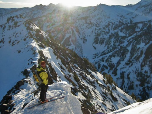 The top of Little Pine Couloir looking over toward Snowbird.  photo: courtney phillips