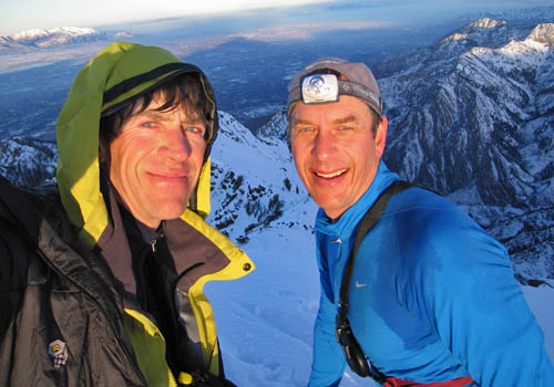 "AM and Doug ""Doc Brock"" Brockmeyer on top of Stairs Gulch with the shadow of Twin Peaks stretching out into the Salt Lake Valley behind us. Doug is a Pedatric Neurosurgeon who enjoys long walks on the beach, romantic candlelight dinners, and removing children's faces to pluck tumors from the front of their brain.  I wish I was as good a surgeon as he is a skier - damn him."