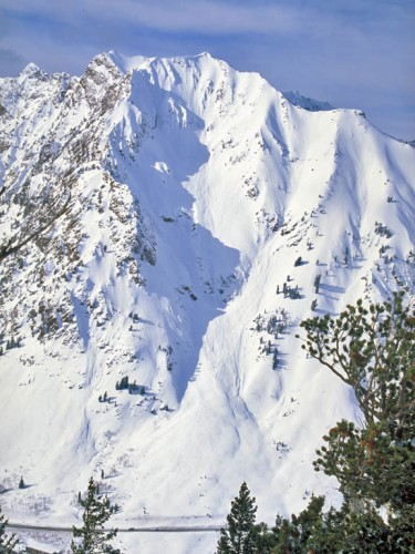 The South Face of Mt. Superior.  It would be sacrelige and redunant to put a red route indicating line on this beauty.  Start at the pointy part and ski it to the bottom.  Note the cars on the road below for scale.