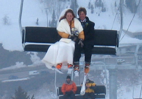 "We consecrated the marriage with a run at Alta.  We had arranged lift tickets beforehand, but ended up forgetting them.  When we showed up at the lift, the liftie said ""Don't worry about it - if you are dressed up like that, you're on the chair."""