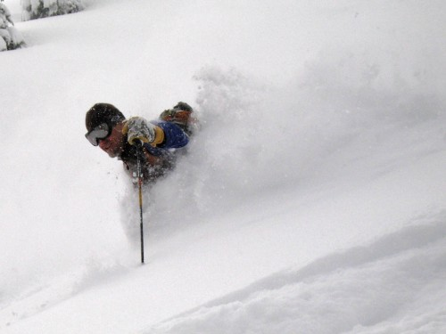 Bruce Edgerly busting pow on demand after a big dump.  On days like this, it is hard to go wrong with your choice of location.