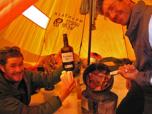 Key ingrediants of Ultra Heavy camping - butter, booze and bacon.