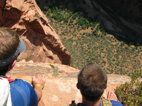 "Brad and Nick look down on a climb named Lunar Ectasy from near the top of Angels Landing.  The scary formation named ""The Amebia"" is still there!"