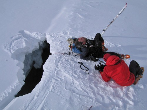 Ben Ditto screaming for joy after hanging upside down in a crevasse for 30 minutes.
