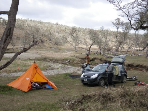 Free camping at the head of the Rio Ewan.