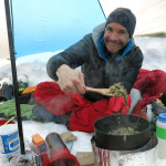 A-OK serving up pasta with fresh herbs from his garden. His culinary camping skills put me to shame.