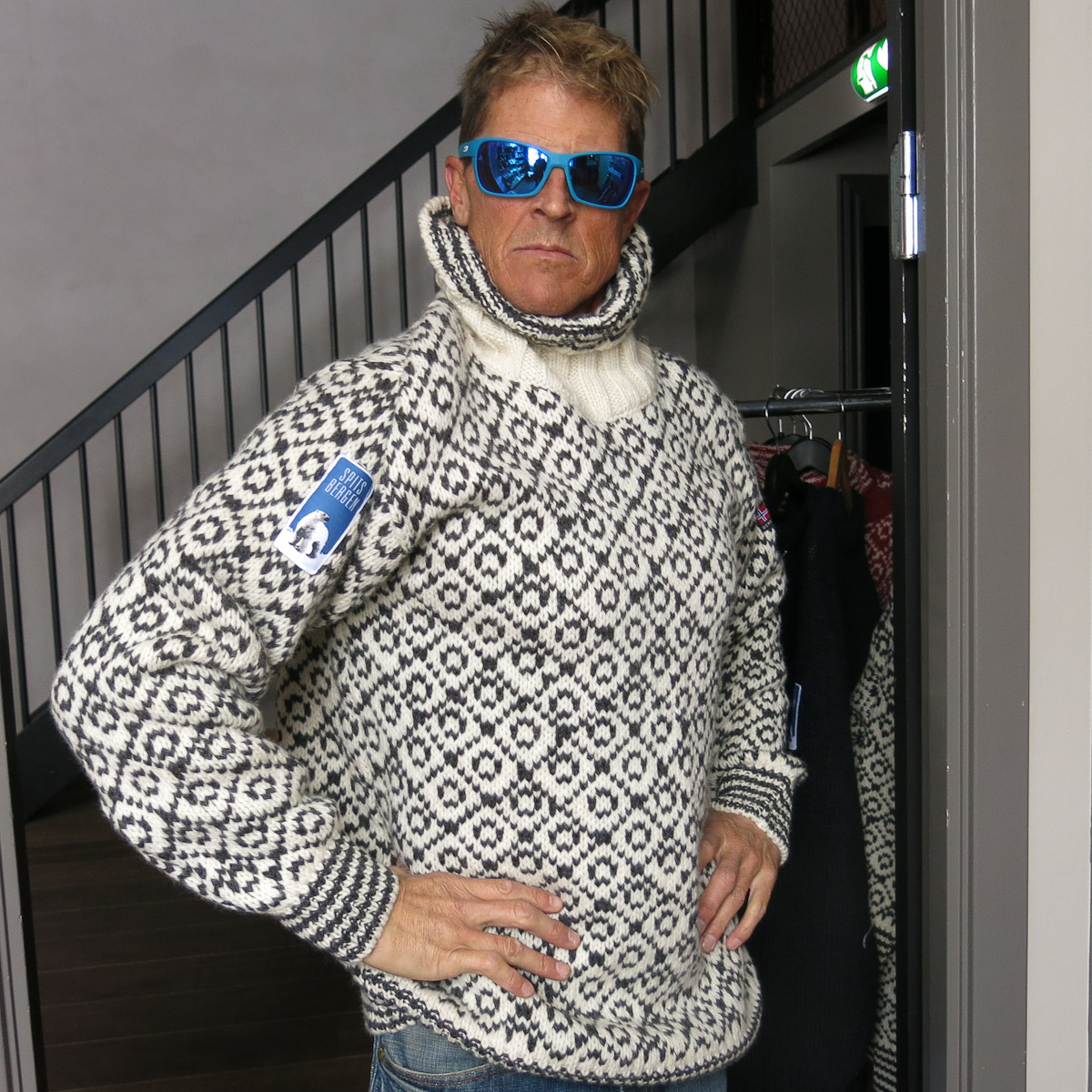 TO modeling a Spitsbergen sweater.