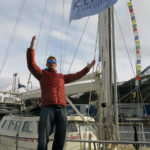 Casting off on the good ship Arctica II while flying the Ice Axe flag.