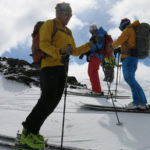 I wish every ski day could be like this.  Topping out on the Martial Glacier with Glen, Doug, Stephan and others.