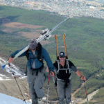 Andrew and Allan punching out the final feet of the booter above Ushuaia.